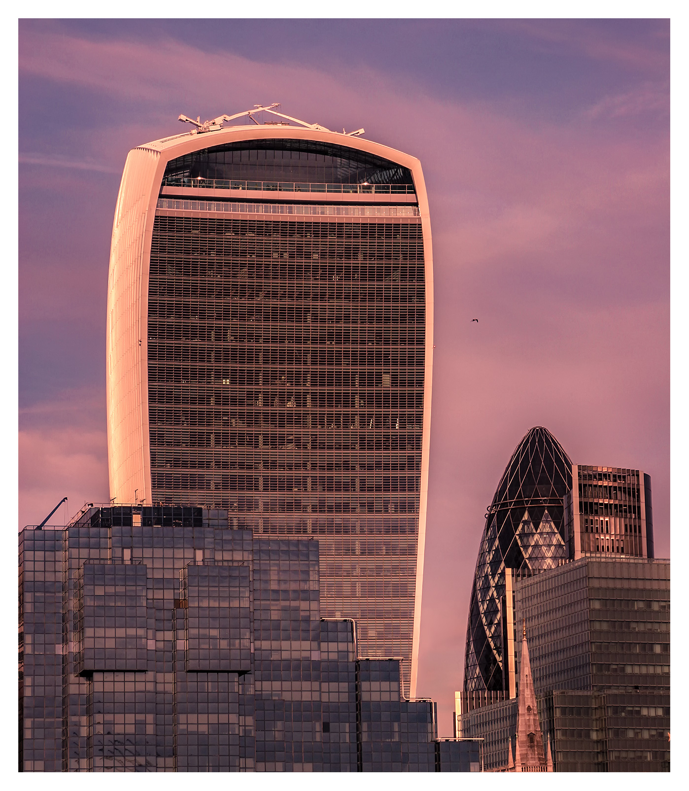 City of London Architecture, the Walkie Talkie building at sunset, 20 Fenchurch Street