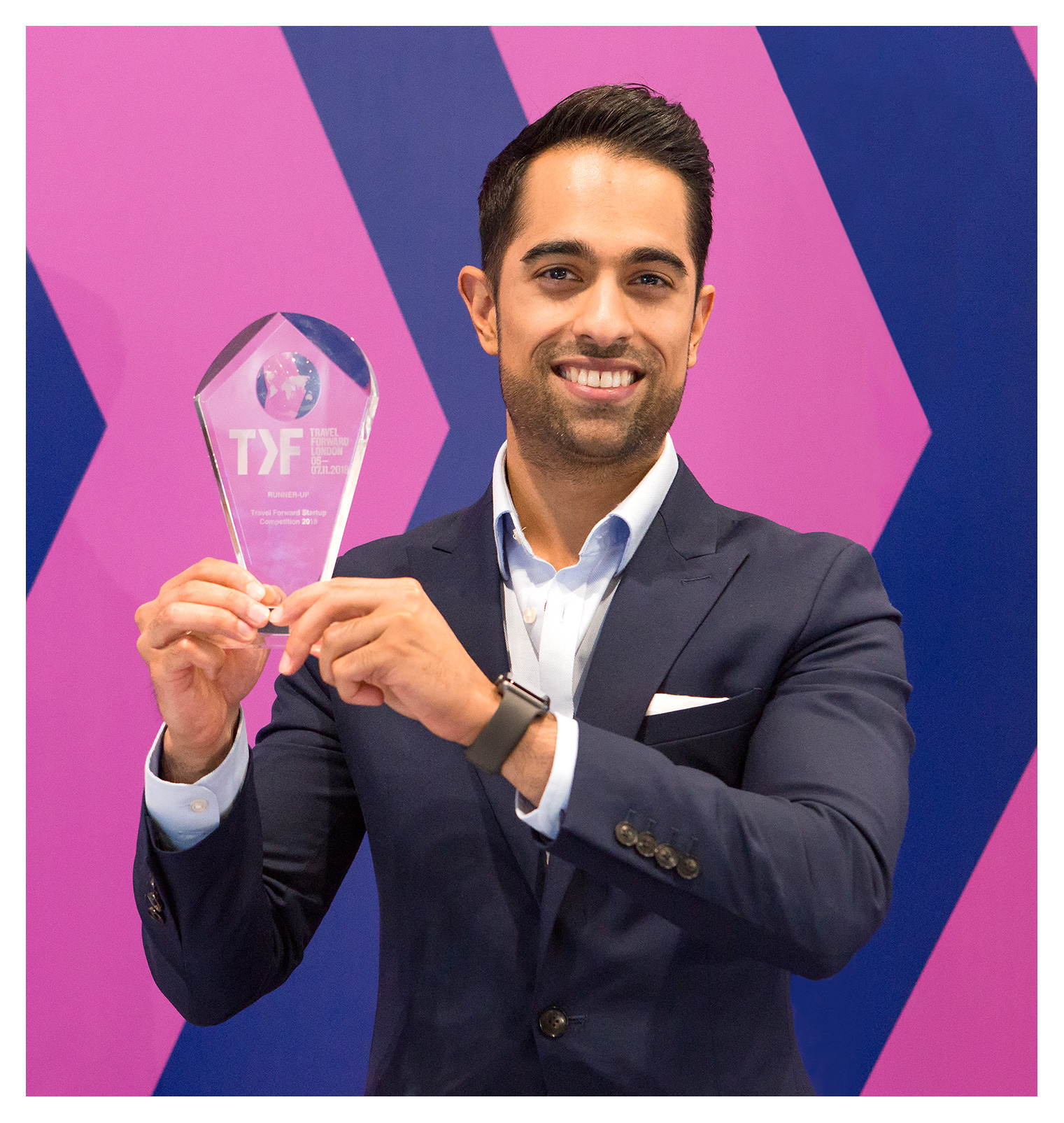 Editorial portrait of Ravi Rajani, Director, Fly Now Pay Later, 3rd prize winner of the Startup Showcase Competition, WTM 2018, ExCel London.