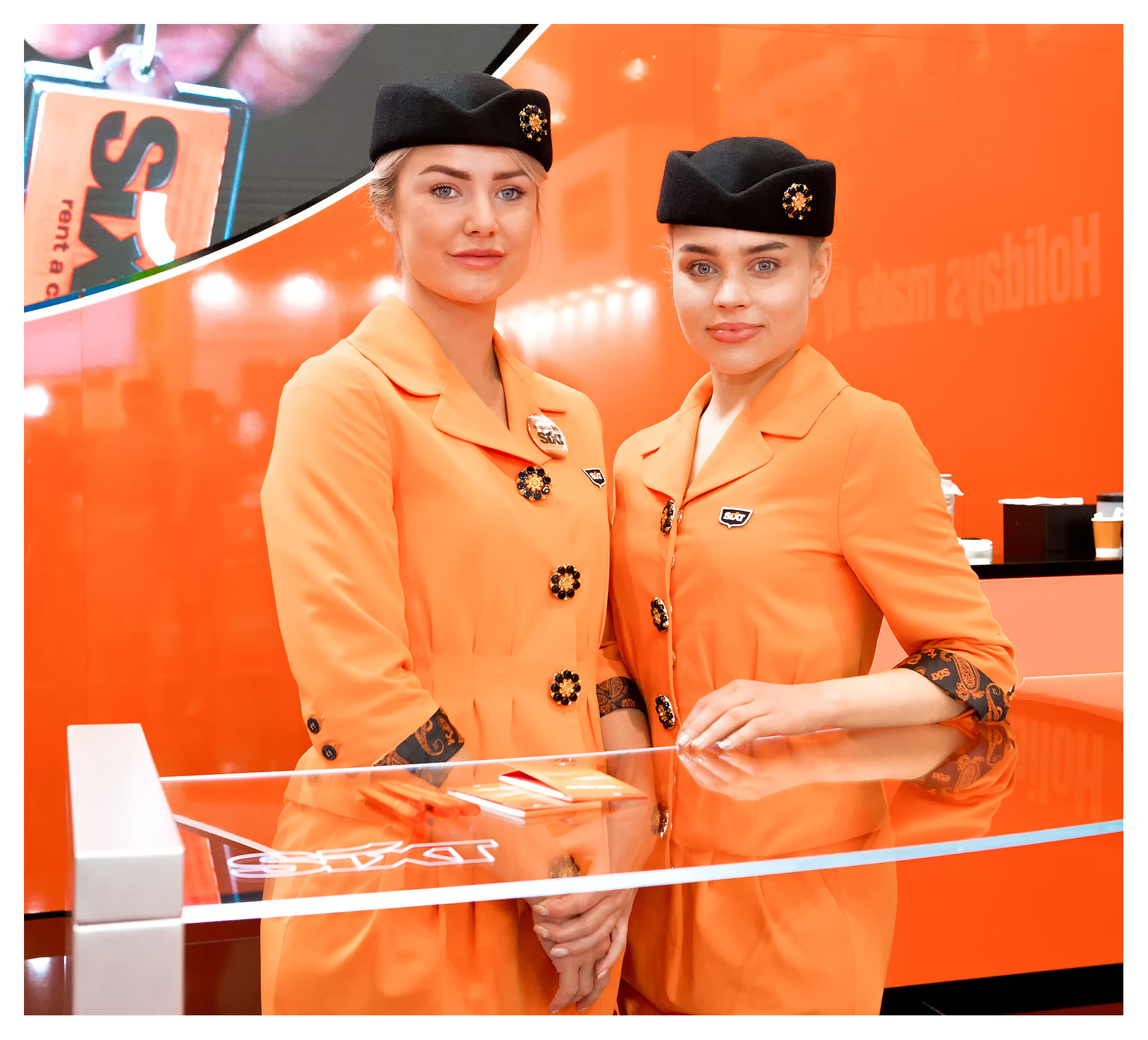 Editorial photography, portrait of Sixt Car Hire hostesses, World Travel Market 2018, ExCel London