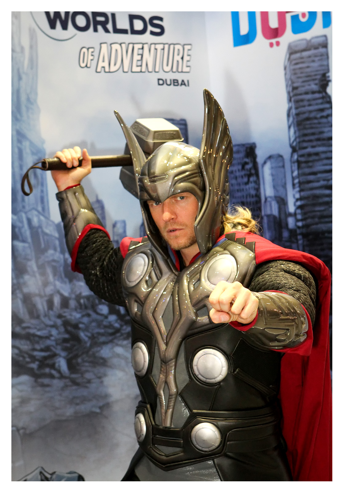 PR photography: Thor posing at the iMG Worlds stand, World Travel Market, ExCel, London 2016.