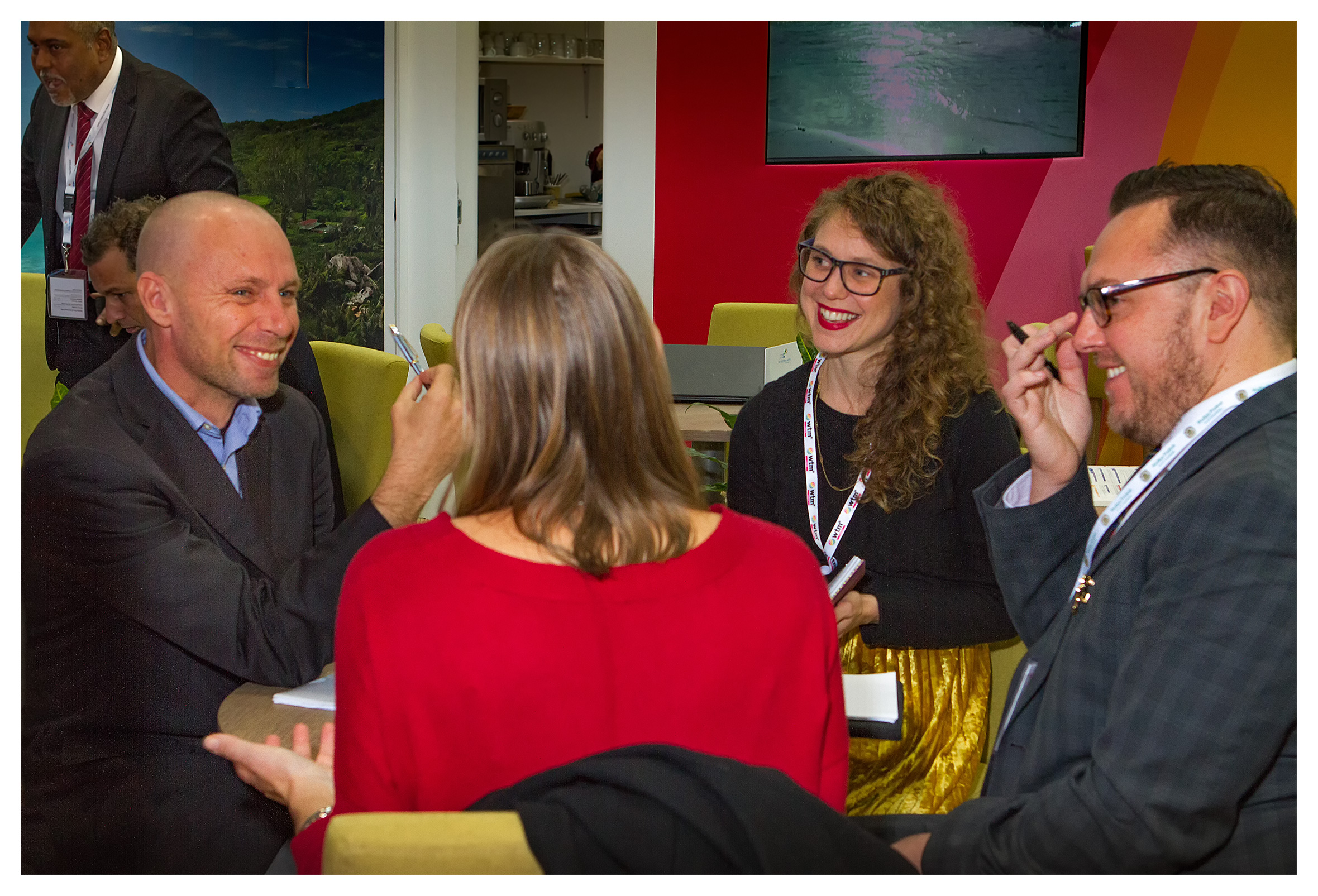 Editorial photography: Delegates talking business, World Travel Market 2017, ExCel London