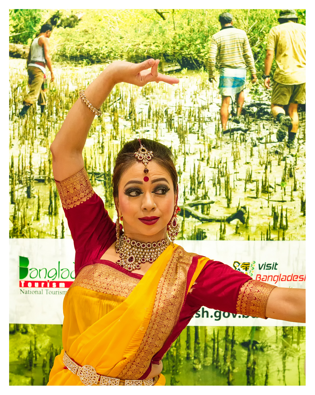 Editorial (portrait) photography: Dancer at the Bangladesh stand, World Travel Market 2017, ExCel London