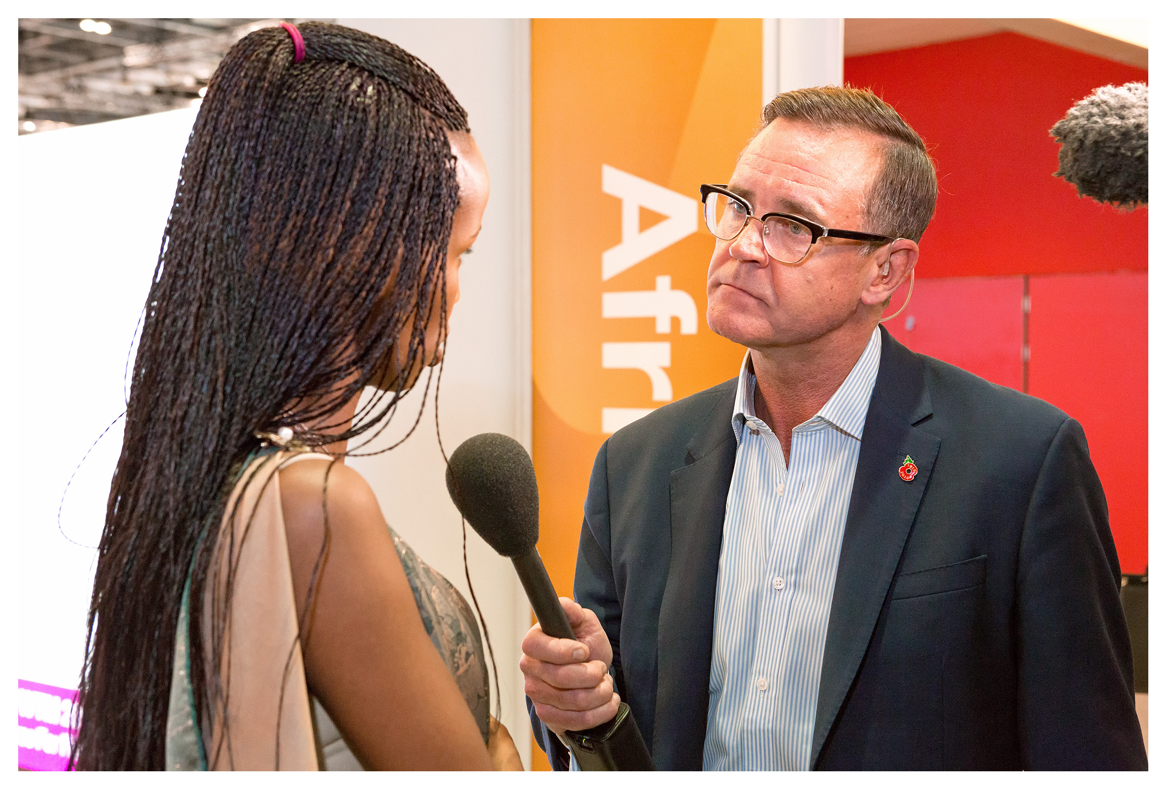PR photography: Aaron Heslehurst BBC interview with Belise Kariza from the Rwanda Development Board, on Africa as a single tourism destination. World Travel Market 2018, ExCel London
