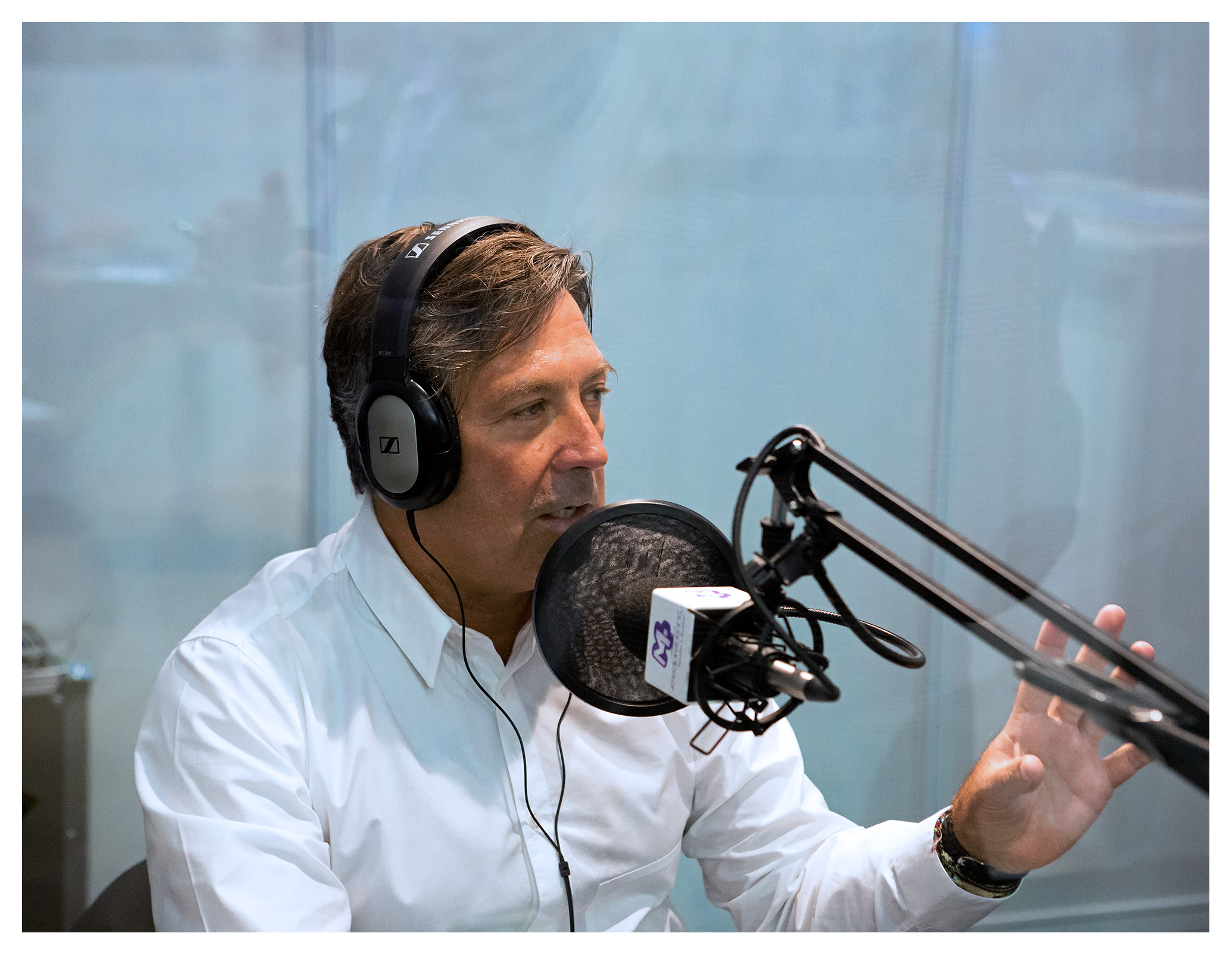 Editorial (portrait) photography: John Torode radio broadcast, World Travel Market 2017, ExCel London