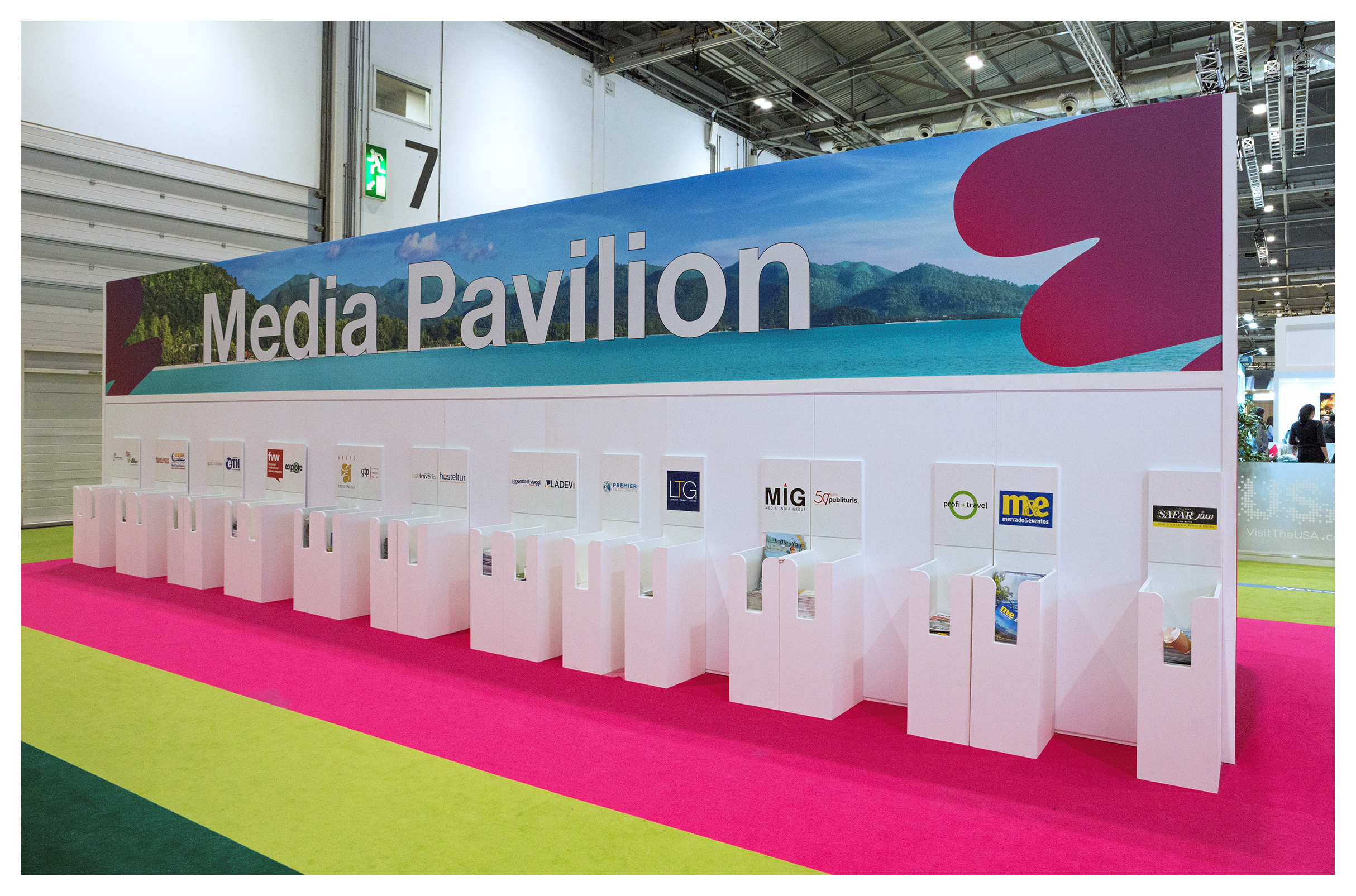Exhibition photography: The Media Centre literature stand, World Travel Market 2018, ExCel London