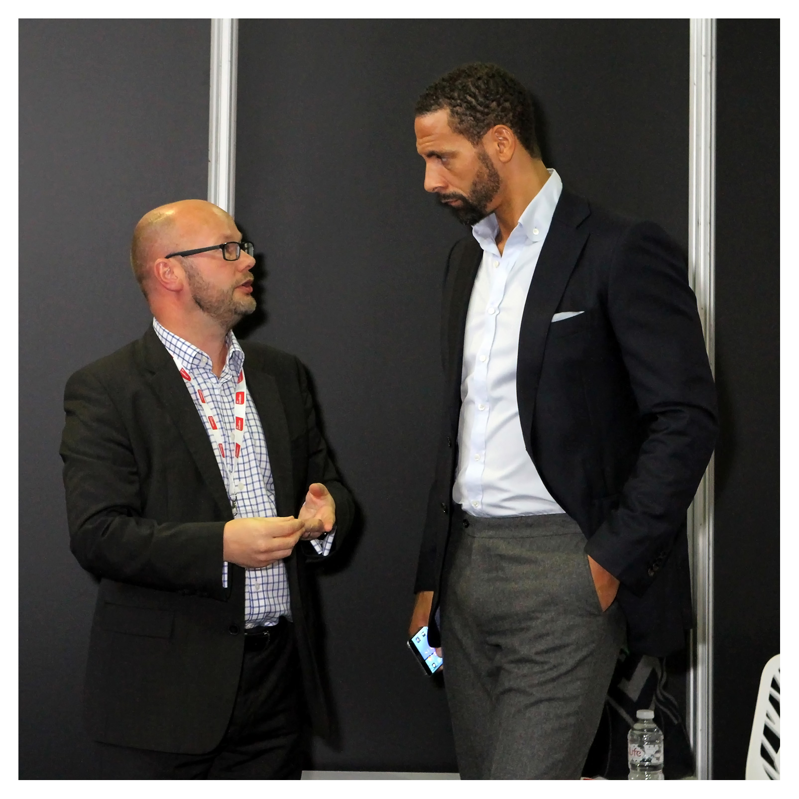 Editorial (portrait) photography: Rio Ferdinand with director of regeneration and business for Central Bedfordshire Council Jason Longhurst at a presentation for the Legacy Foundation, MIPIM UK 2016