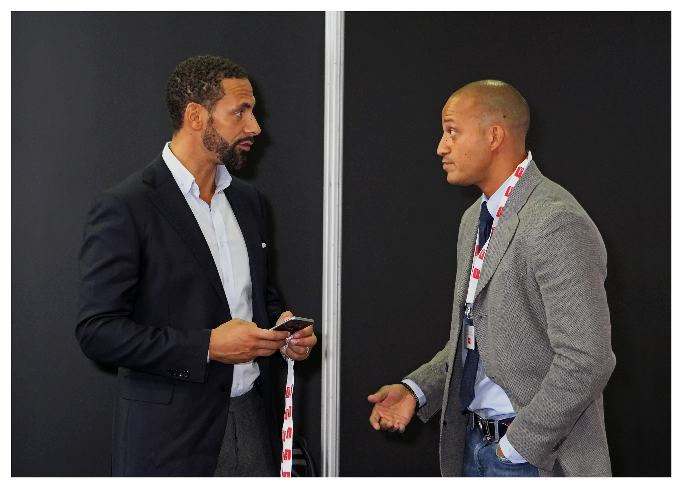 Editorial (portrait) photography: Rio Ferdinand with Bobby Zamora at a presentation for the Lagacy Foundation, MIPIM UK 2016