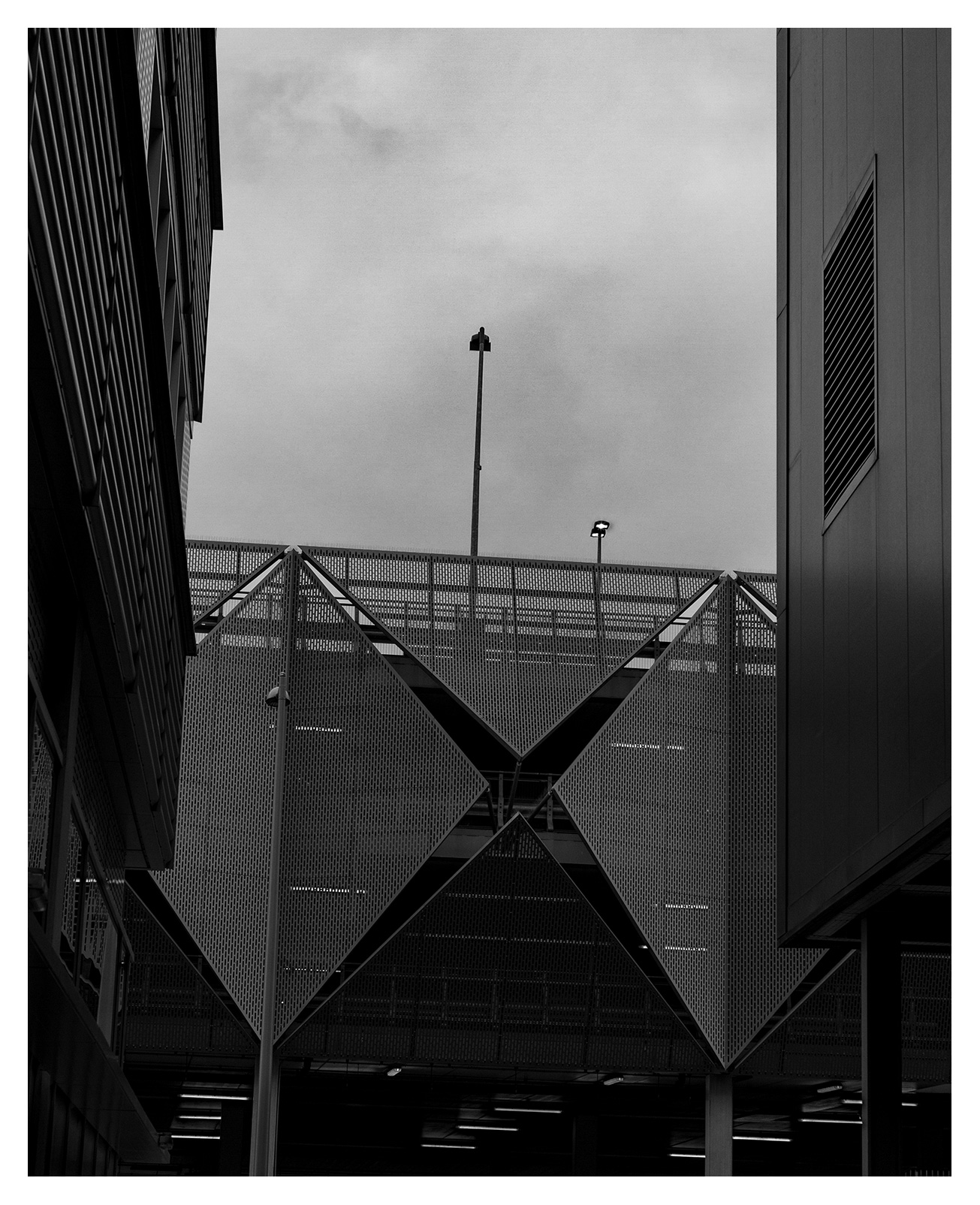 Dramatic Architectural photography, car park, Here East, Queen Elizabeth Olympic Park, Hackney