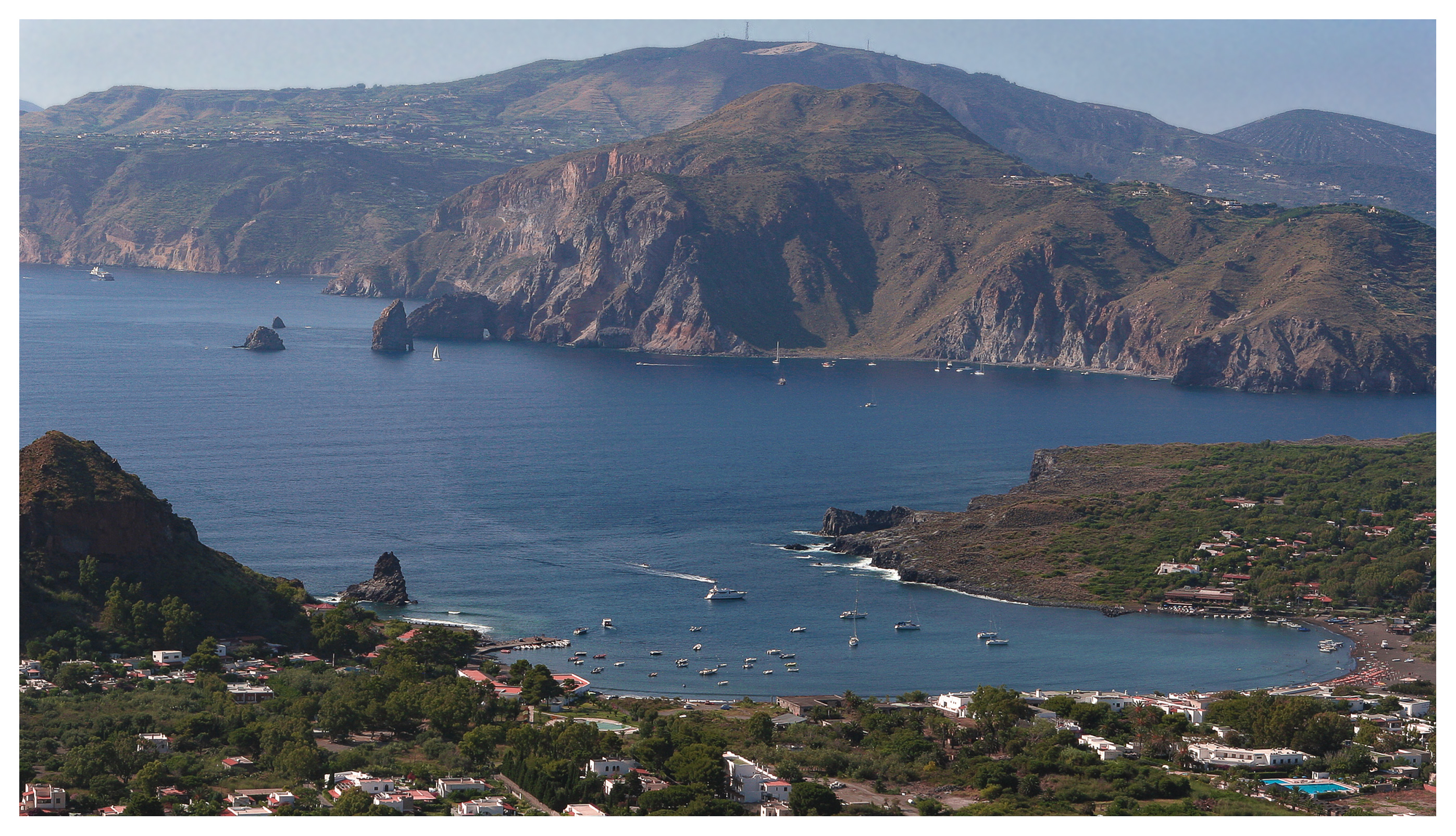Panoramic views across to the island of Lipari from the crater at Vulcano, Aeolean Islands, Sicily