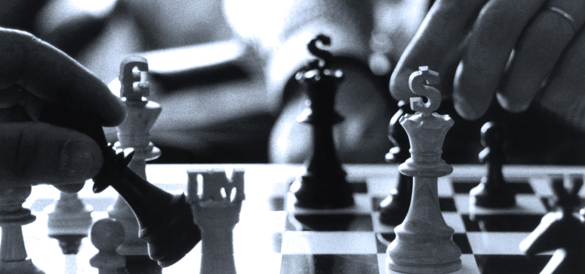 Chess and the currency markets, business concepts.
